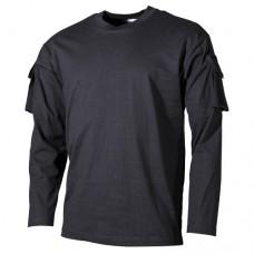 Футболка с длинными рукавами и нарукавными карманами, чёрная, новая