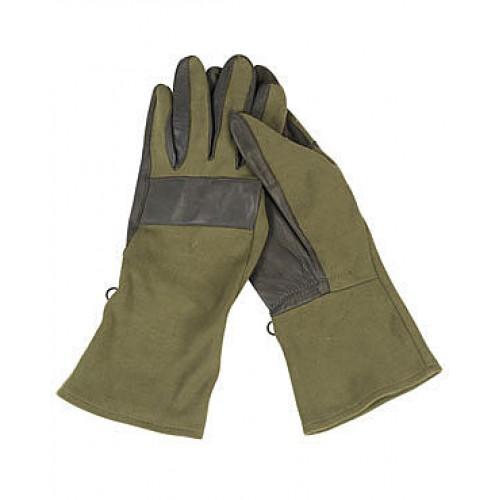 """Перчатки Бундесвера """"Nomex"""" с кожаными накладками, олива, б/у"""
