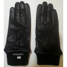 Перчатки кожаные с трикотажными манжетами тюремной службы Великобритании, чёрные, новые