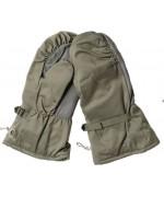 Рукавицы с искусственным мехом и кожаными накладками Бундесвера, олива, как новые