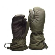Рукавицы трехпалые  Syna-Tex с кожаными накладками армии Дании, олива, новые