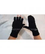 Варежки-перчатки вязанные с утеплителем Thinsulate и кожаными накладками, чёрные, новые