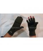 Варежки-перчатки вязанные с утеплителем Thinsulate и кожаными накладками, олива, новые