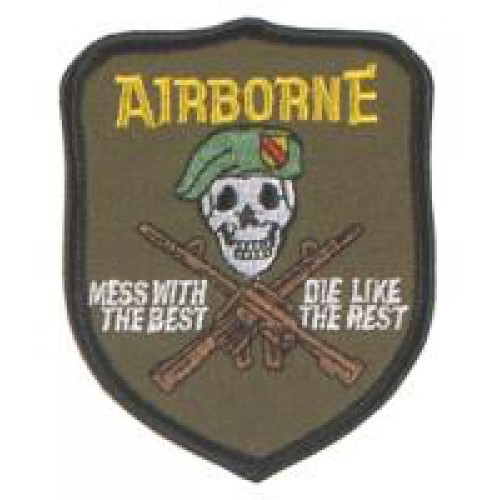 "Нашивка ""U.S. Airborne - mess with the best"", новая"