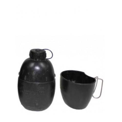 Фляга М58 с кружкой армии Великобритании, чёрная, б\у