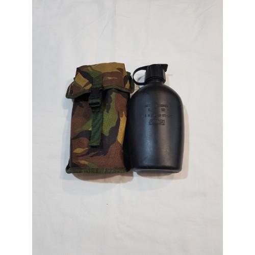 Фляга на 1100 мл в чехле DPM без стакана армии Голландии крепление Molle, чёрная, б/у
