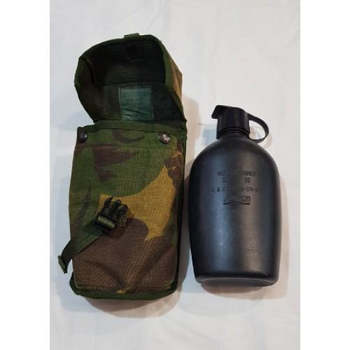 Фляга на 1100 мл в термочехле DPM без стакана армии Голландии крепление Molle, чёрная, б/у