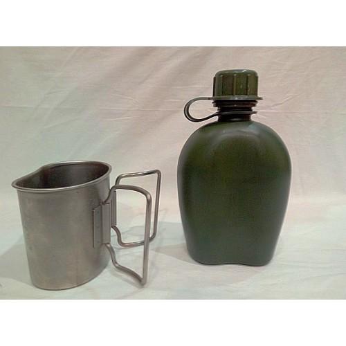 Фляга со стаканом армии Голландии, олива,б/у