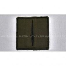 Нашивка 3-й бригады коммандос (черный кинжал на оливковом фоне), б/у